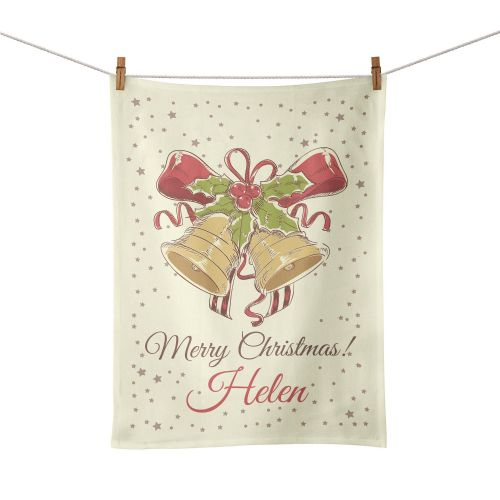 Personalised Christmas Holiday Bells Tea Towel - Vintage Design